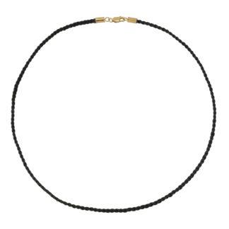 Halskæde - Læder - Sort - Håndflettet
